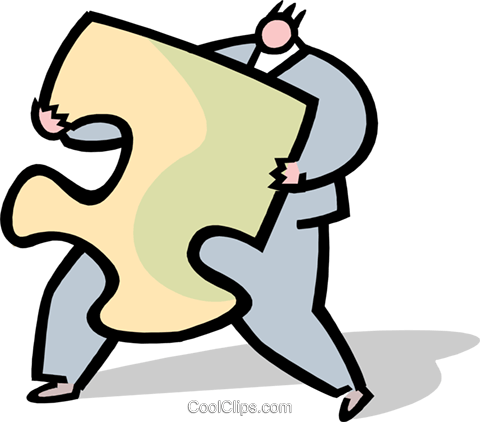 business person carrying puzzle piece Royalty Free Vector Clip Art illustration peop3755