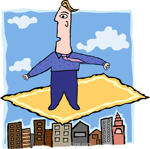 business man on flying carpet Royalty Free Vector Clip Art illustration peop3763