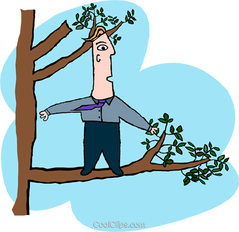 business out on a limb Royalty Free Vector Clip Art illustration peop3770