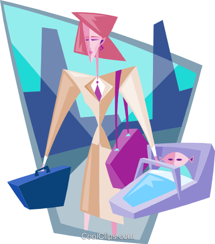 business working mother Royalty Free Vector Clip Art illustration peop3795