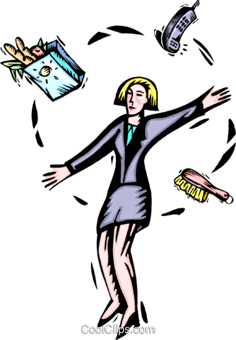 business woman juggling responsibilities Royalty Free Vector Clip Art illustration peop3798