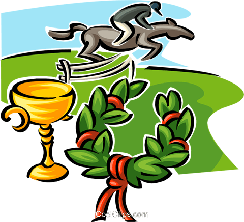 jockey on horse, trophy and wreath Royalty Free Vector Clip Art illustration spor0424