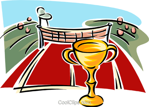 Tennis court with trophy Royalty Free Vector Clip Art illustration spor0426