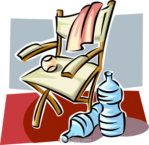 Chair and water bottles Royalty Free Vector Clip Art illustration spor0430