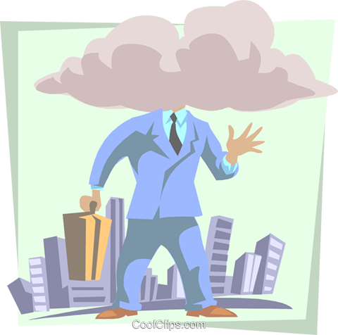 head in the clouds Royalty Free Vector Clip Art illustration busi1714
