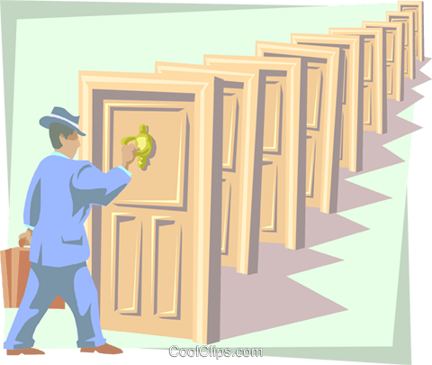 knocking on doors Royalty Free Vector Clip Art illustration busi1717
