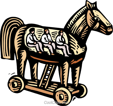 business /woodcut Trojan horse Royalty Free Vector Clip Art illustration busi1719