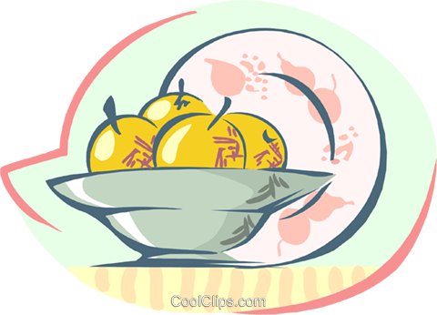 bowl of fruit Royalty Free Vector Clip Art illustration food1196