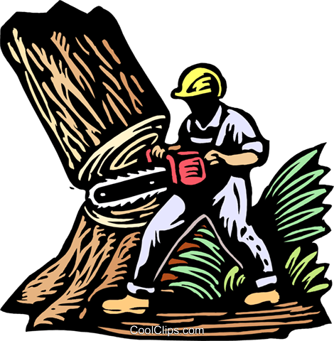 Logger Cutting Down Tree Royalty Free Vector Clip Art Ilration