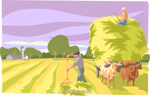 Farmer harvesting hay Royalty Free Vector Clip Art illustration indu0997