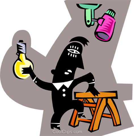 man changing light bulb Royalty Free Vector Clip Art illustration peop3810