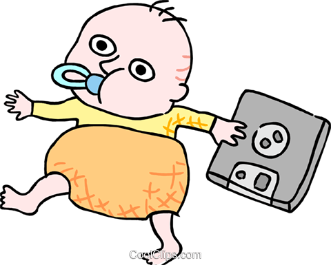 Business baby with disk Royalty Free Vector Clip Art illustration peop3812