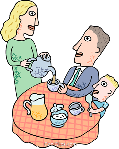 Father having  breakfast with the family Royalty Free Vector Clip Art illustration peop3815
