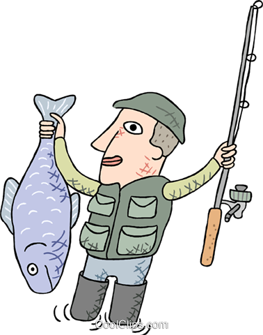 fisherman with large fish Royalty Free Vector Clip Art illustration peop3819