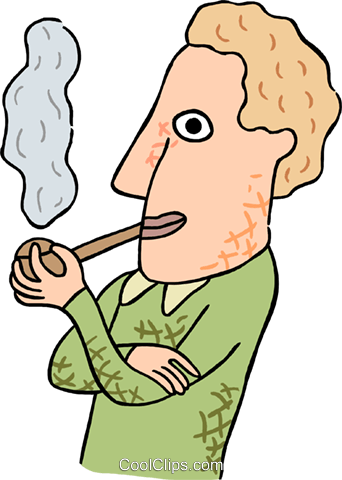 man smoking pipe Royalty Free Vector Clip Art illustration peop3820