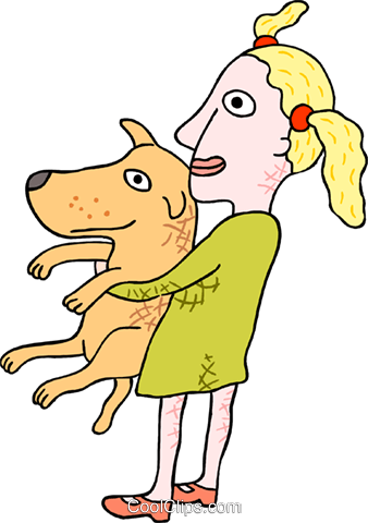 Girl with dog Royalty Free Vector Clip Art illustration peop3823