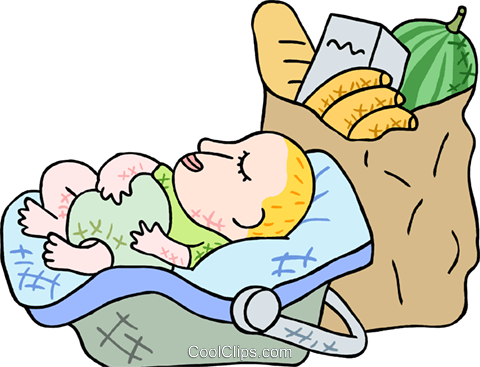 Baby with groceries Royalty Free Vector Clip Art illustration peop3824