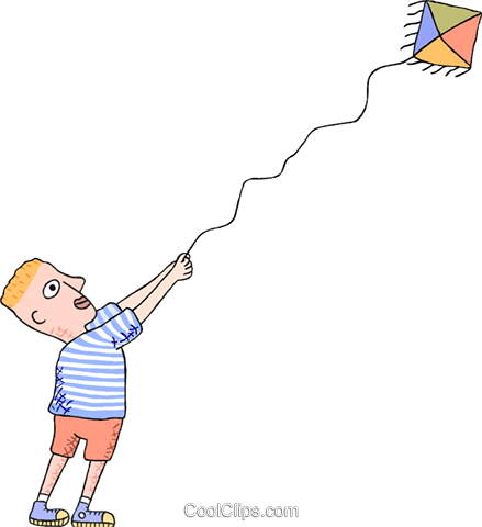 kid flying kite Royalty Free Vector Clip Art illustration peop3825