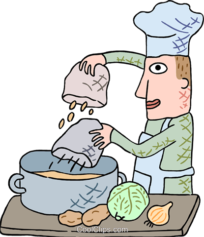 chef preparing soup Royalty Free Vector Clip Art illustration peop3826
