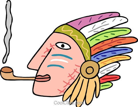 native American smoking pipe Royalty Free Vector Clip Art illustration peop3827