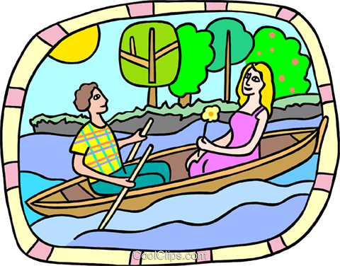 romantic boat ride Royalty Free Vector Clip Art illustration peop3829