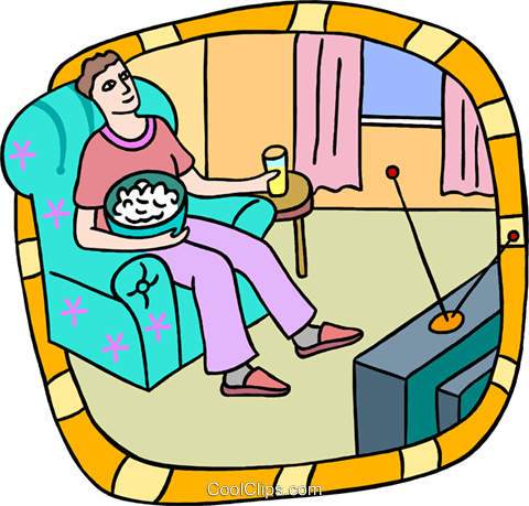 person watching television Royalty Free Vector Clip Art illustration peop3830