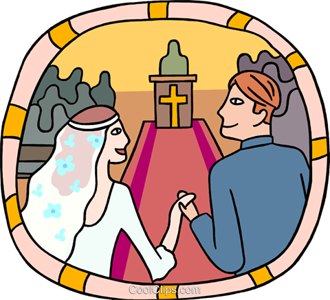 Marriage couple going down the aisle Royalty Free Vector Clip Art illustration peop3832