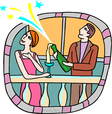 Couple popping open bottle of champagne Royalty Free Vector Clip Art illustration peop3833