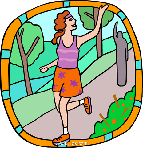 jogger waving goodbye Royalty Free Vector Clip Art illustration peop3835