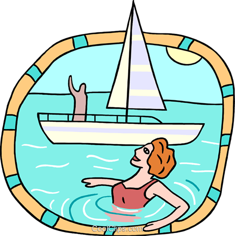 waving to swimmer from sailboat Royalty Free Vector Clip Art illustration peop3838