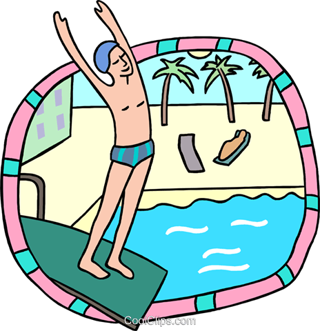 preparing to dive into pool Royalty Free Vector Clip Art illustration peop3840