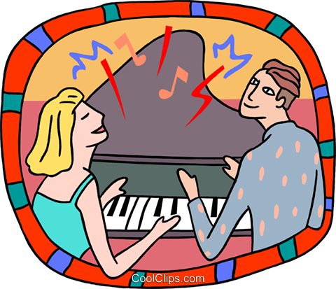 couple playing piano Royalty Free Vector Clip Art illustration peop3842
