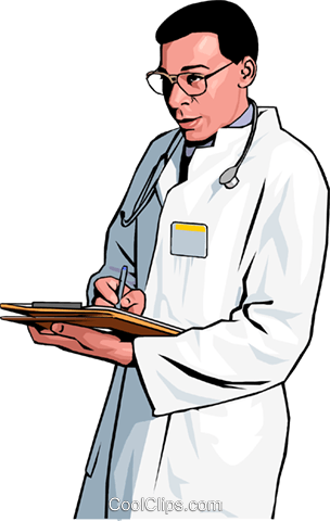 Doctor with chart Royalty Free Vector Clip Art illustration peop3847
