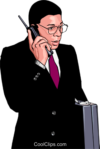Business man on cell phone Royalty Free Vector Clip Art illustration peop3849