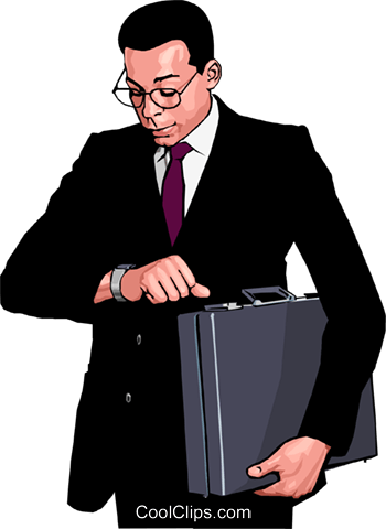 business man checking time Royalty Free Vector Clip Art illustration peop3850