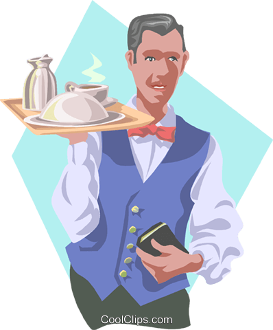 waiter Royalty Free Vector Clip Art illustration peop3858