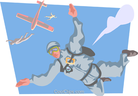 Skydiver free falling Royalty Free Vector Clip Art illustration peop3862