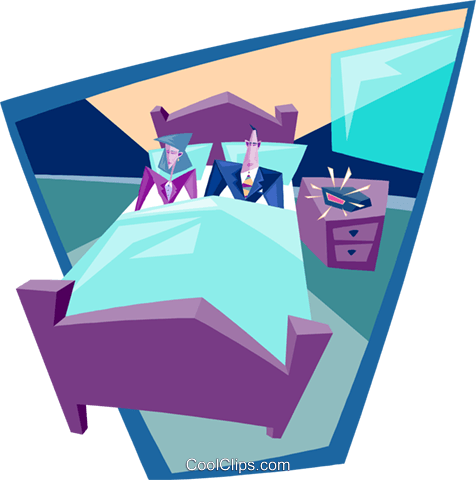 business couple in bed Royalty Free Vector Clip Art illustration peop3872