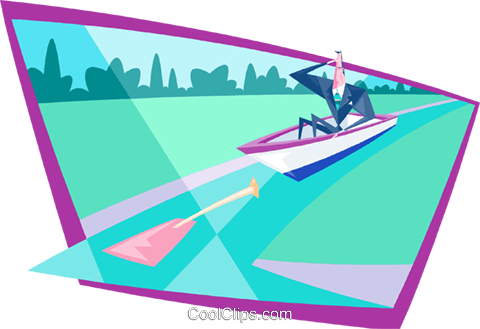 business up creek without paddle Royalty Free Vector Clip Art illustration peop3873