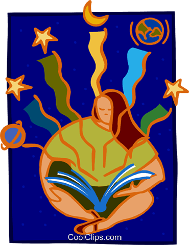 reading from astronomy book Royalty Free Vector Clip Art illustration peop3878