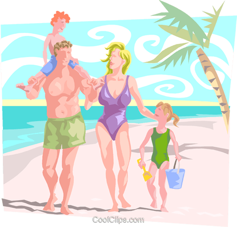 Family at beach Royalty Free Vector Clip Art illustration peop3883