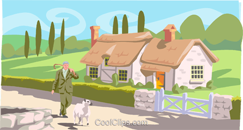 man walking sheep down road Royalty Free Vector Clip Art illustration peop3885