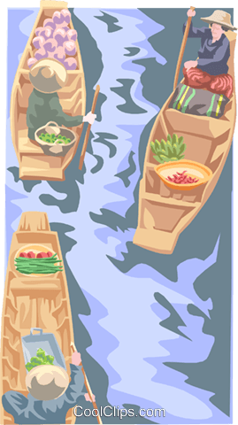 merchants in boat with vegetables Royalty Free Vector Clip Art illustration peop3886
