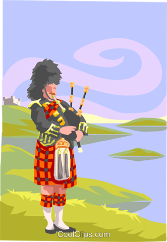 bag pipe player Royalty Free Vector Clip Art illustration peop3887