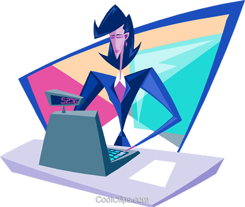business woman cashier Royalty Free Vector Clip Art illustration peop3895