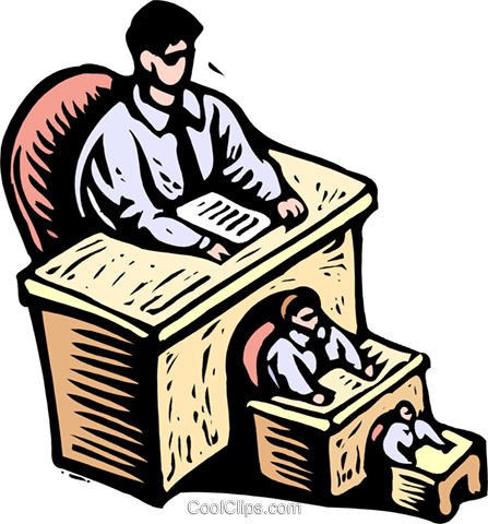 men in decreasing sizes seated at desks Royalty Free Vector Clip Art illustration peop3898
