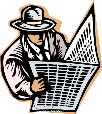business man checking newspaper Royalty Free Vector Clip Art illustration peop3900