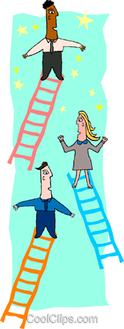 business people rising ladders Royalty Free Vector Clip Art illustration peop3904
