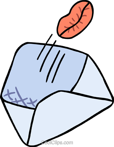 envelope with a kiss Royalty Free Vector Clip Art illustration spec0401