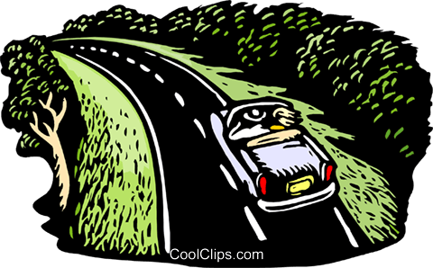 Couple driving down parkway Royalty Free Vector Clip Art illustration tran1001